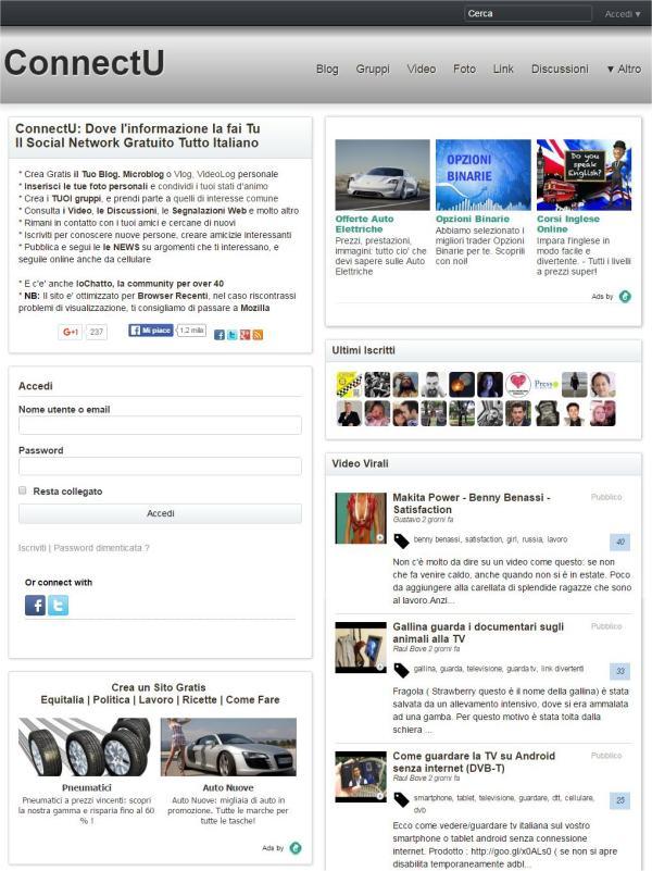 Connectu il social network gratuito Tutto italiano